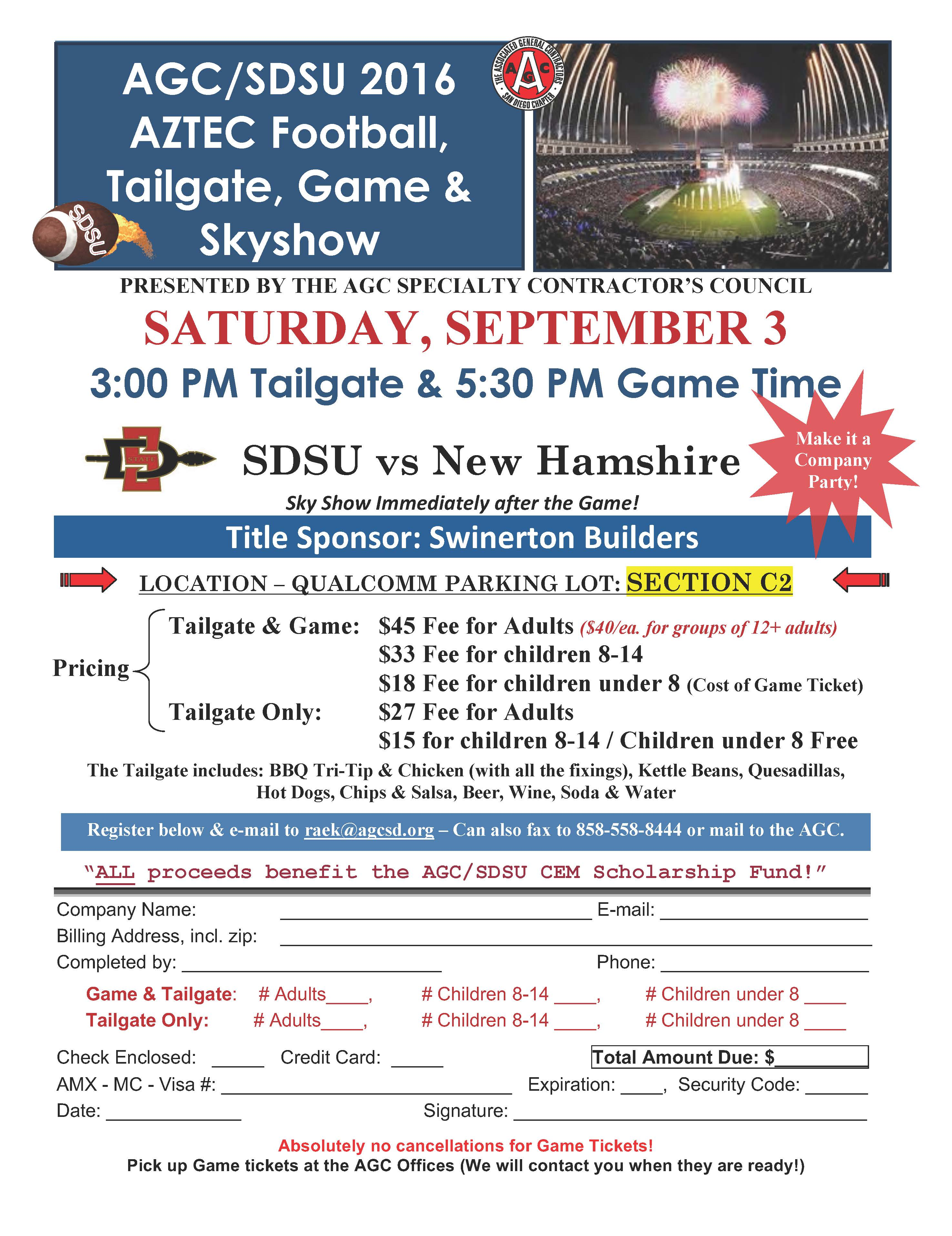 AGC Tailgate Registration form